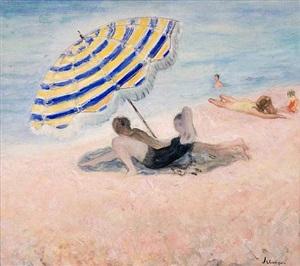 beach scene on the mediterranean by henri lebasque