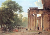 figures resting and conversing in the roman forum near the temple of antaneus and faustino by alexandre hyacinthe dunouy