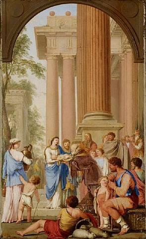 présentation au temple by laurent de (lahyre) lahire