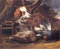 a cocker spaniel with a dead partridge and a woodcock in a landscape setting by jan fyt