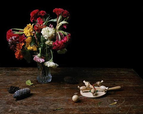 still life with chicken game & flowers by justine reyes