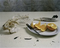 still life with fish & orange slices by justine reyes