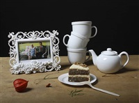 still life with tea set, picture frame & cake by justine reyes