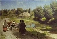 village scene by nikolai alexandrovich sergeev
