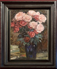 blue vase of roses (sold) by leonid osipovich pasternak