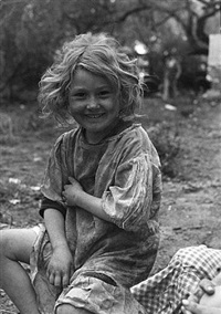 a young girl in migrant camp, raymondville, texas by carl mydans