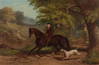 a young man on his hack with his dalmatian by james hill