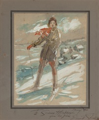 susanne humphreys on skis by everett shinn