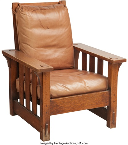 A Charles Stickley Arts U0026 Crafts Oak Morris Chair With Leather Cushions. 39  H X 31