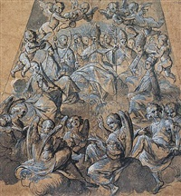 design for the decoration of a vault: a bishop saint surounded by saints and angels by belenzio corenzio