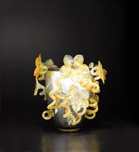 silvered venetian with golden amber lilies by dale chihuly
