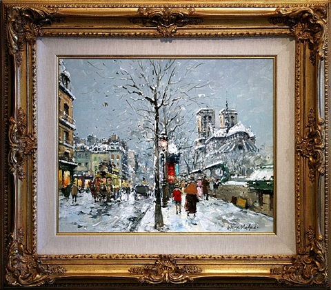 bouquinistes de notre dame, quai de la tournelle, paris in winter by antoine blanchard