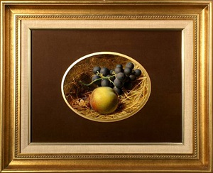 still life of grapes with gooseberries and a plum by frederick thomas baynes