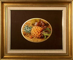 still life of pineapple and grapes by frederick thomas baynes