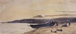 normandy: fishermen pulling their boat ashore at dusk by paul huet