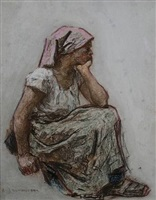 femme assise by léon augustin l'hermitte