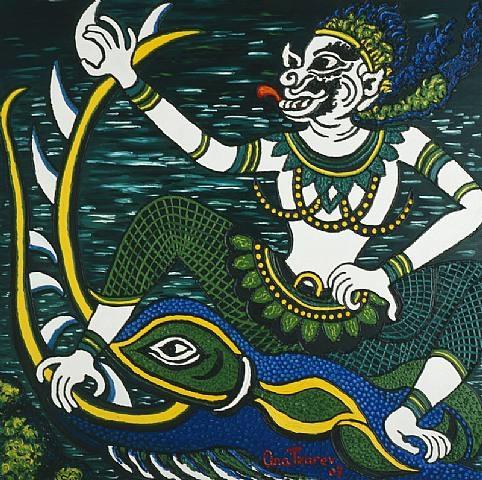 hanuman fights the sea monster by ana tzarev