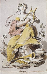an allegorical figure of poetry by pietro de angelis