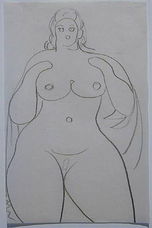 nude with long hair by gaston lachaise
