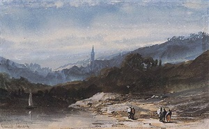river landscape with a church in the distance by eugène ciceri