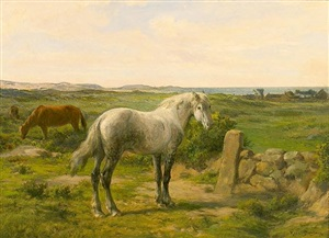 horses near the seaside (chevaux en bord de mer) by rosa bonheur