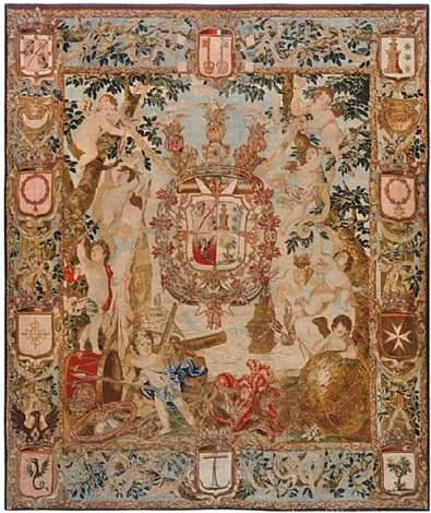 antique flemish heraldic tapestry of a spanish noble admiral