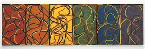 the propitious garden of plane image, first version by brice marden