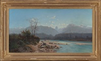 fishing scene in savoy mountains by alfred godchaux