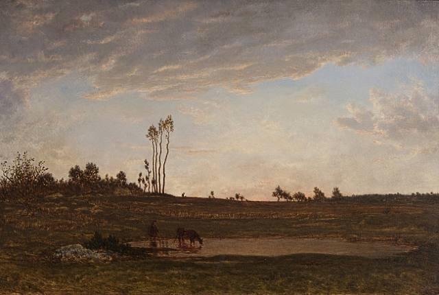 soleil couchant, paysanne faisant boire une vache by théodore rousseau