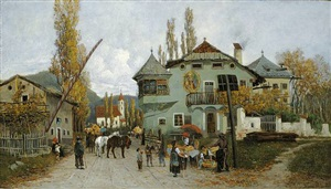 orangenverkäuferinnen in brixen by theodor von hörmann