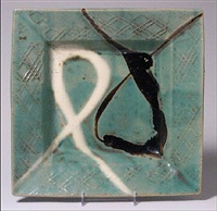 square plate with nuka dn tenmoku glaze loops by shoji hamada
