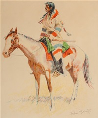 buckskins (three works) by frederic remington