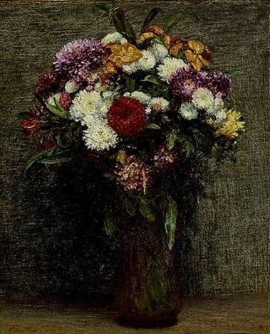 chrysanthèmes et giroflées by henri fantin-latour