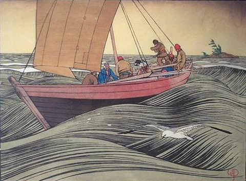york boat on lake winnipeg by walter joseph phillips