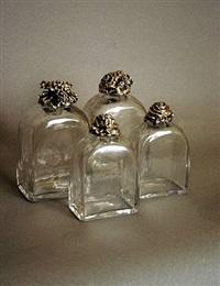 ensemble composé deux grands flacons et deux petits flacons en cristal et argent by paul iribe and robert linzeler