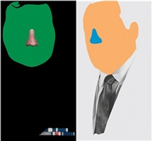 noses & ears, etc.: the gemini series: two faces, one with nose and military ribbons; one with (blue) nose and tie by john baldessari