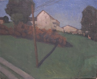 house and down tree at rising sun by e.m. saniga