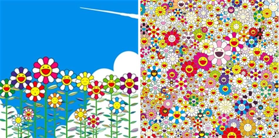 flower & flowers in heaven (2 works) by takashi murakami