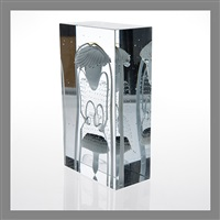 art glass cube by oiva toikka