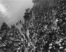 pilgrims praying, elephants and boats in holy river by marilyn bridges