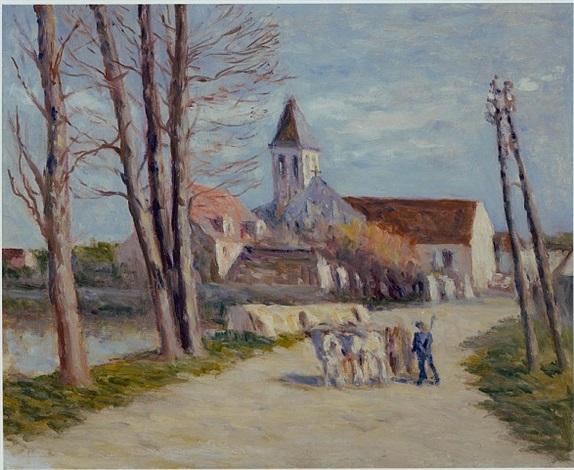 paysan quittant un village (peasant leaving a village) by maximilien luce