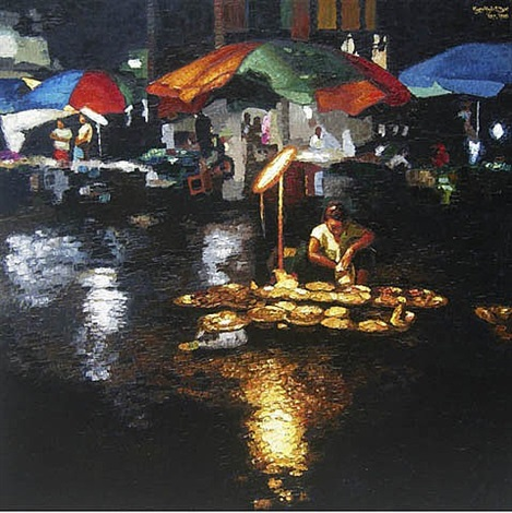 a hawker in the rainy night by kyee myintt saw