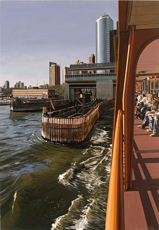 staten island ferry docking manhattan by richard estes
