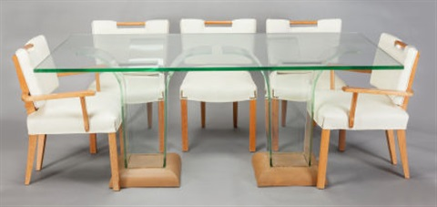 Dining Set, Including A Glass Topped Dining Table With Two Four Piece Glass