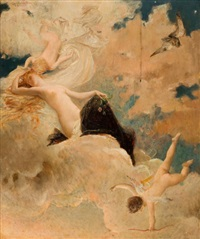 an ethereal beauty with putti in the clouds by luc olivier merson