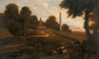 italianate landscape with shepherds and shepherdesses amidst ruins by continental school (18)