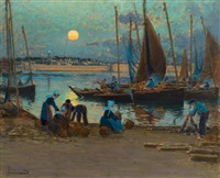 moonrise over the port, concarneau by mathurin janssaud