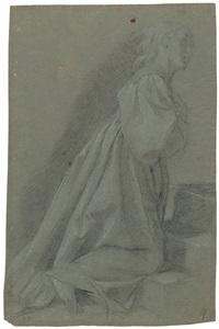 kniende weibliche figur (maria aus dem tempelgang mariä) (+ arm studies, verso) by cavaliere giovanni baglione