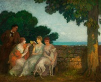 three maidens in garden with dog and standing gentleman by michel simonidy