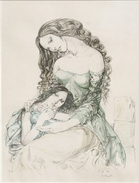 woman and child by léonard tsuguharu foujita